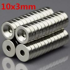 50Pcs N50 Grade 10 x 3mm Strong Rare Earth Magnet With 3mm Hole Ring Countersunk