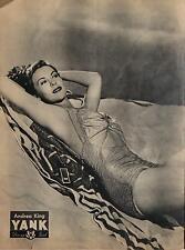 Andrea King Pin Up Girl Yank Army Weekly Aug 1945, 6x5 Inch Reprint Photo USA