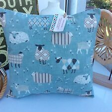 SHABBY CHIC CUSHION COVER  DUCK EGG BLUE BAA LAMB FRYETTS COTTON SHEEP FABRIC