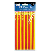 Pack Of 12 HB Pencil With Eraser Tip Drawing Art Sketching Pencil - School