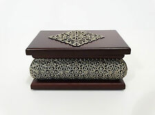 Brown Wooden Jewellery Trinket Box Elegant Beautifuly Decorated Perfect Gift