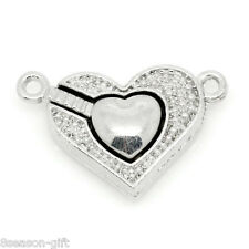5PCs Magnetic Clasps Jewelry Findings Love Heart Silver Tone 25x16mm