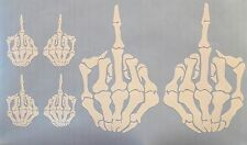 6 SKULL MIDDLE FINGER Funny CELL iPHONE iPOD DIE CUT DECAL STICKER Punisher F U