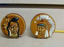 Ceramic Salt Pepper Shakers Drum Shaped Colorado Indian Chief War Paint Feathers