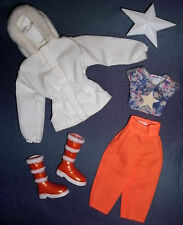 Barbie doll clothes 5-pt outfit: Winter jacket, pants, boots, T-shirt, brush