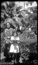 Portrait mère fille jardin casablanca -  négatif photo ancien  années 1930