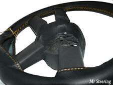 BLACK LEATHER STEERING WHEEL COVER FOR FORD MONDEO MK4 GOLD STITCHING (2007-12)