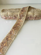 9Mtr of Indian Fancy Zari Sequin Trim Lace Ethnic Ribbon Craft Sari Border