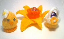3 CREAM EGG HOLDERS, EASTER CHICK IN NEST, BASKET AND DAFFODIL KNITTING PATTERN
