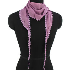 Fashion Women's Solid Color Dot Pom Pom Edge With Long Tassel Triangle Scarf New