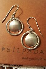 SILPADA OXIDIZED HAMMERED STERLING SILVER DISC EARRINGS  W1426 RETIRED