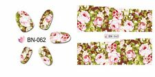 Nail Art Water Decals Stickers Transfers Wraps Pink Brown Flowers Floral (BN62)