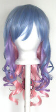20'' Layered Loose Curly Cut w/ Long Bangs Saxe Blue, Lavender Purple, Pink Wig