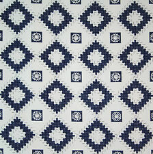 vintage 1950s pure glazed cotton diamond & motif print dress fabric