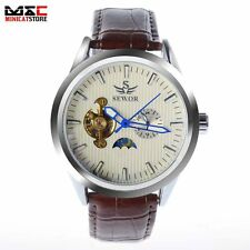 Luxury Brown Leather Band Tourbillon Moon Face Automatic Mechanical Wrist Watch