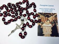 cherry RELIC ROSARY and card  Saint Peregrine Laziosi patron Cancer AIDS & ill