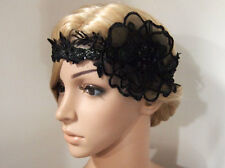 1920s Gatsby Flapper Black Flower Lace Headband Bridal Hair Fascinator Headpiece