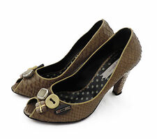 BB by MARIO BOLOGNA PUMPS 38 MARRONE IN PELLE RETTILE SCARPE Decolt spuntate made in Italy