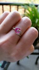 10k White Gold and Heart Shaped  Pink Sapphire Ring w/Diamond Accent