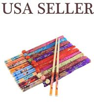 10 Pairs Classic Asian Bamboo Chopsticks Silk Packaging Wedding Dinner Gift Set