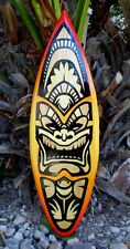 Red Hot Fire Tiki Surfboard Wall Art Solid Wood Beach Red Yellow Tropical Decor