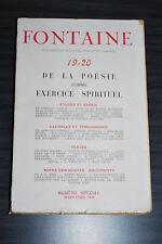 Fontaine - De la Poésie comme exercice spirituel