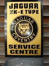 1950'S-60's STYLE JAGUAR XKE SERIES SERVICE CENTRE SIGN/AD W/GROWLER BADGE