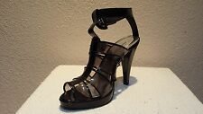 Anne Michelle synthetic medium black patent sandal shoes 9