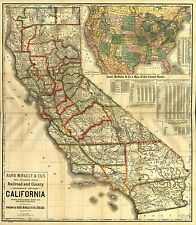 MAP OF CALIFORNIA Vintage Map Reproduction Rolled CANVAS ART PRINT 24x27 in.