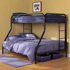 Bunk Beds with Twin Over Full Metal Black Finish Kids Teens Guest Bedroom