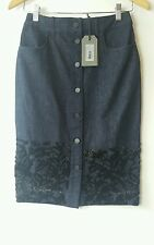 Bnwt Allsaints Swyni Skirt.uk 4. £128.denim.embellished.indigo.**ON OFFER!**