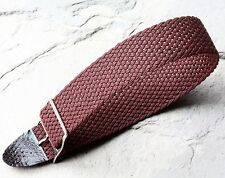 LAST ONES Oxblood tropical braided nylon 18mm vintage watch band silver buckle
