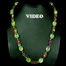 EXQUISITE!NATURAL! GREEN PREHNITE, AMETHYST,925 SILVER NECKLACE 14K GOLD PLATED