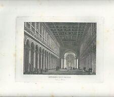 1848 ROMA INTERNO DI S. PAOLO FUORI LE MURA acquaforte su rame originale d'epoca