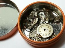Vintage ladies Bulova mechanical watch movement parts lot in tin #64DAV