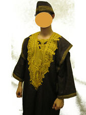 GENUINE AFRICAN CLOTHING 4PCS MEN DASHIKI CHURCH WEDDING SUIT ~ BROWN/GOLD
