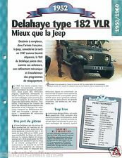 4X4 Delahaye Type 182 VLR Jeep 4 Cyl. 1952 France Car Auto Retro FICHE FRANCE