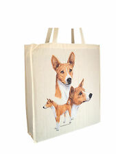 Basenji Reusable Cotton Shopping Bag with Gusset and Long Handles Perfect Gift