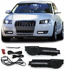 FOG LIGHT COVERS WITH DAYLIGHT RUNNING LIGHT DRL FOR AUDI A3 8P 03-12 NICE GIFT