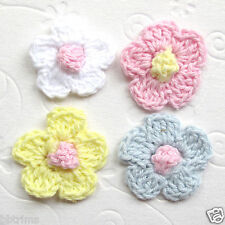 "US SELLER- 60 x 1"" Mix Hand Crochet Cotton Spring Flower Appliques for Bow ST02C"