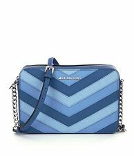 Michael Kors Jet Set Item Large East West EW Saffiano Chevron Sky Blue Crossbody
