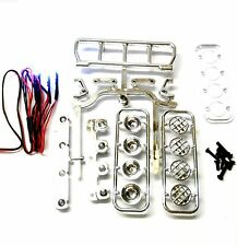 L-027b 1/10 Monster Truck Body Shell Roof Mount Light Set White 4 LEDs Chrome