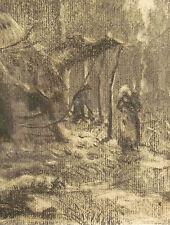 Dessin ancien au fusain signé en bas à droite NOËL XIXème école de BARBIZON