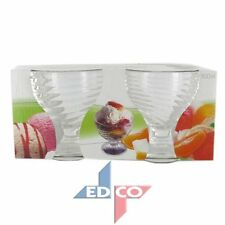 Ice Cream Bowls Glass Dessert Dishes Cup Appetiser Fruit Pudding Cocktail x 2