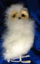 "Snowy Owl Figurine Covered in White Down & Contour Feathers - 12"" Tall"