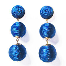 3-TIERS OF COBALT BLUE SILKY SHEEN DISCO BALL DROP STATEMENT EARRINGS