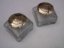 Pair 19thC style quality ink bottles,inkwells for writing slope/box/lapdesk 45mm