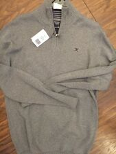 Hackett London Half Zip Finest Italian Cotton Grey Jumper Sweater, S, Rrp £100