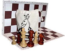 Schach Holz-Schachfiguren N5 im Stoffbeutel Schachbrett