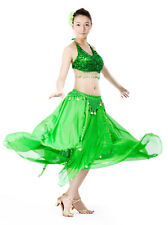 New Belly Dance Costume 2 pics Bra Top & Skirt with Coins 12 Colors